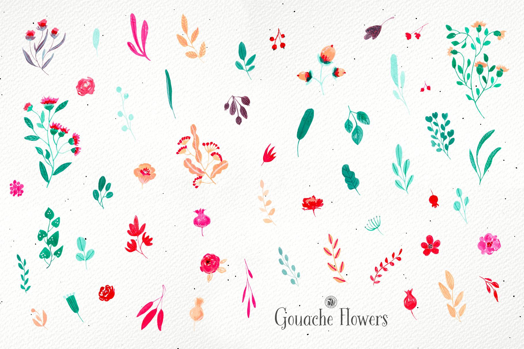 Gouache Flowers example image 7