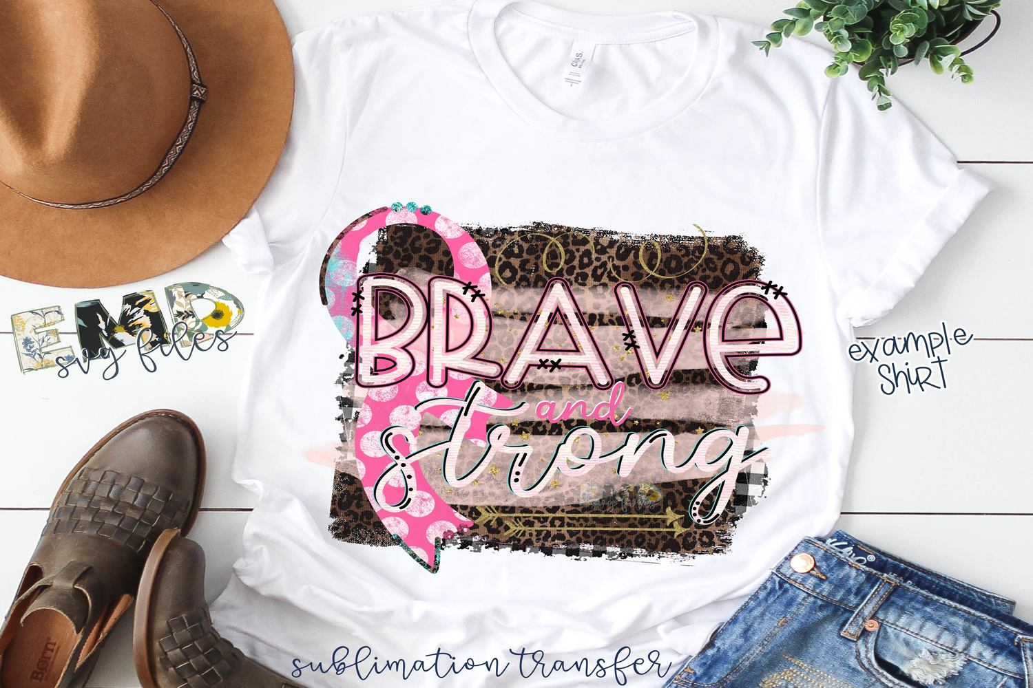 Brave And Strong Pink Ribbon Sublimation Transfer example image 2