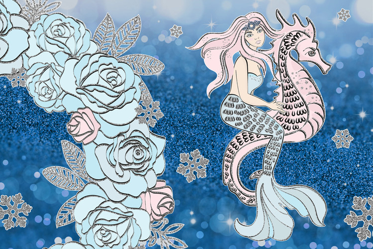 ICE MERMAID Glitter Christmas Illustration Set example image 7