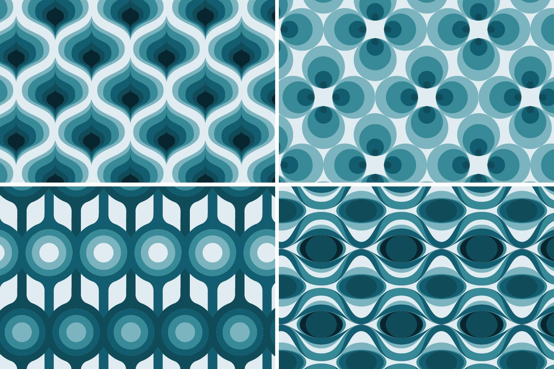 8 Seamless Retro Modern Patterns - Teal example image 6