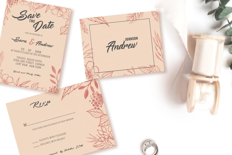 Pink floral wedding invitation set example image 2