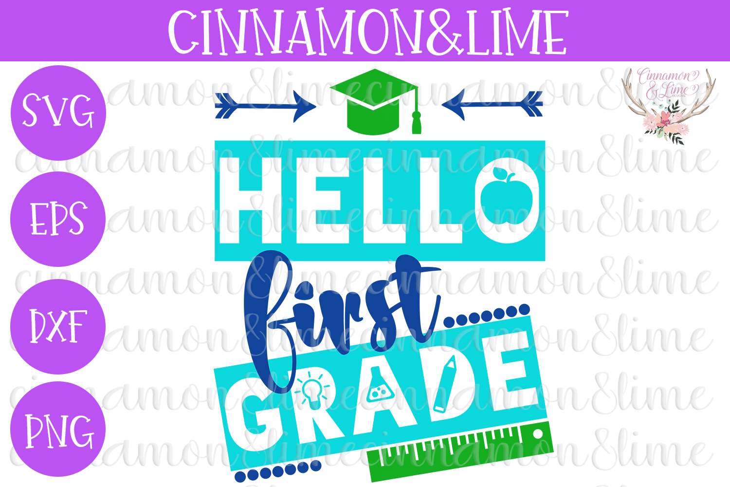 Hello First Grade, Back to School SVG example image 1