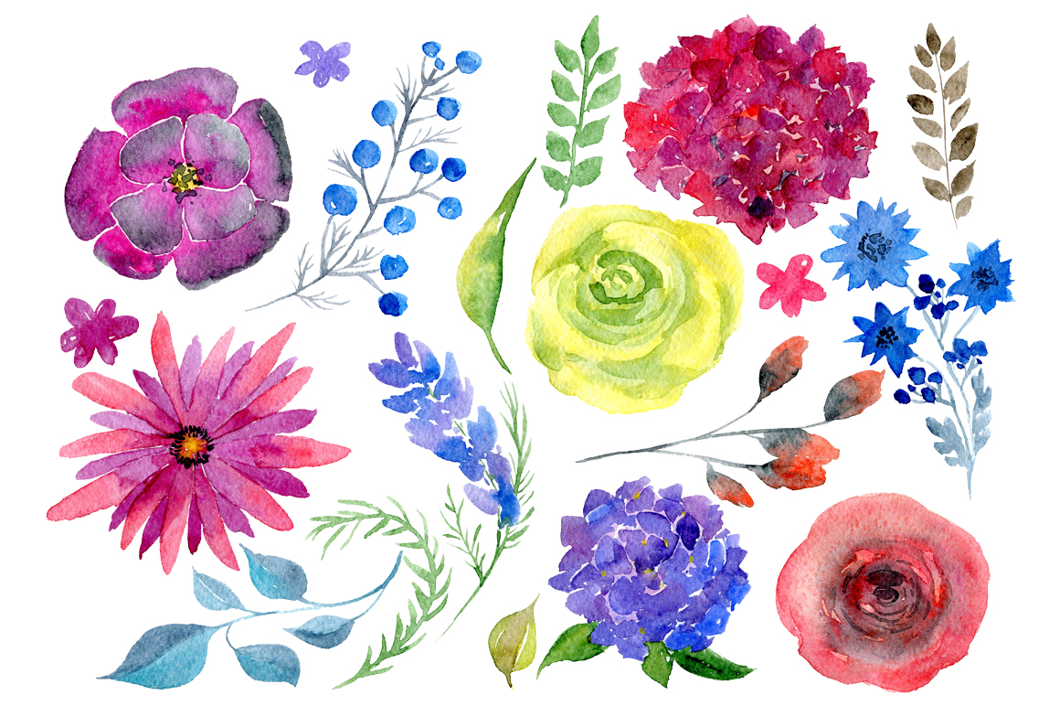 Watercolor bright boho flowers example image 2