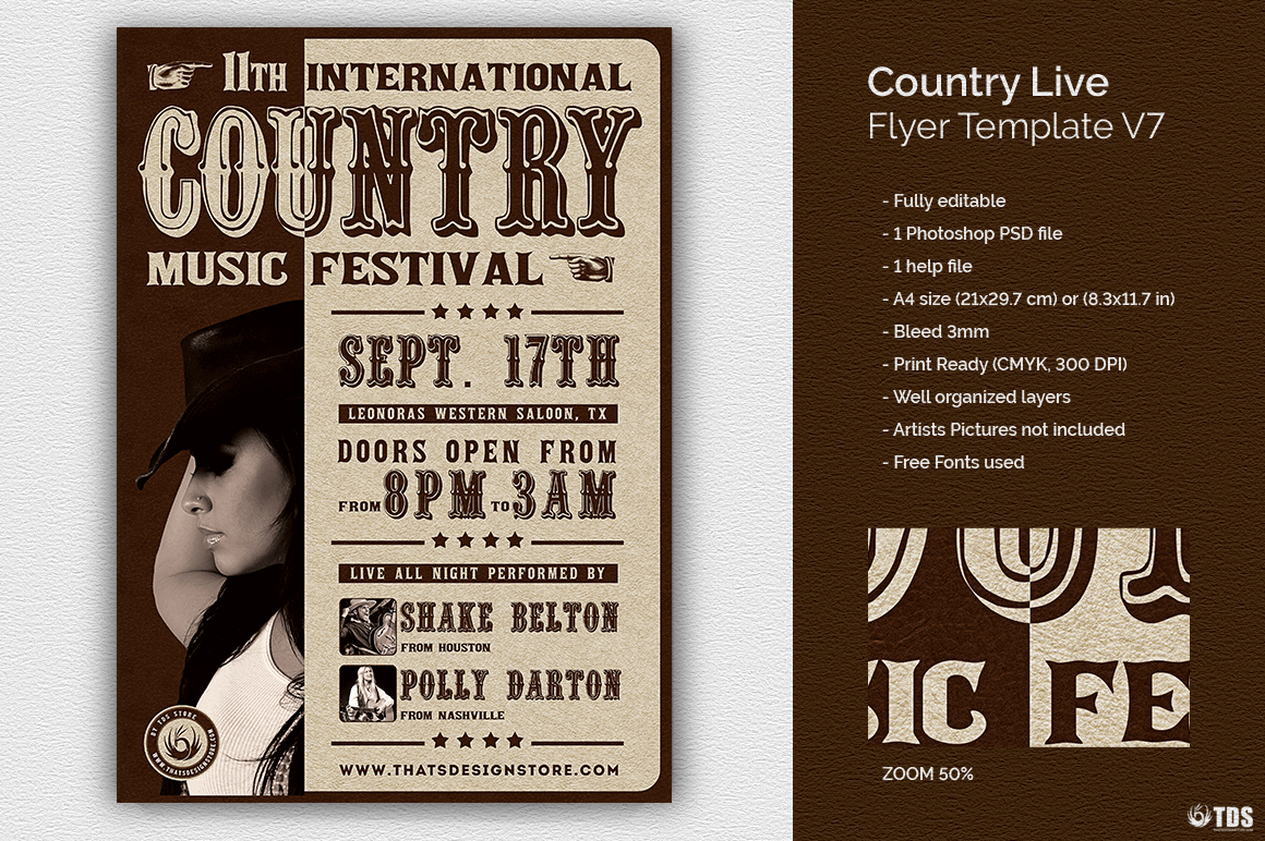 Country Live Flyer Template V7 example image 1