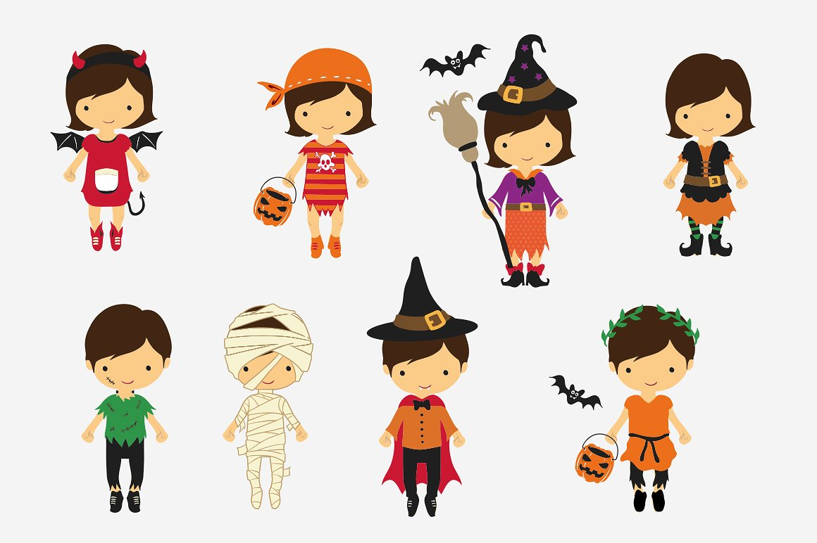 Halloween Clipart bundle 82 elements Eps and PNG example image 2