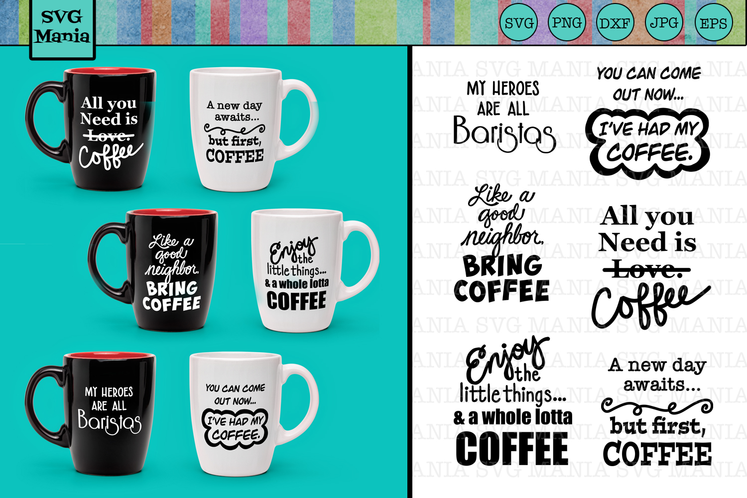 Coffee Saying SVG File Bundle, Funny Coffee SVG Files, SVG example image 1