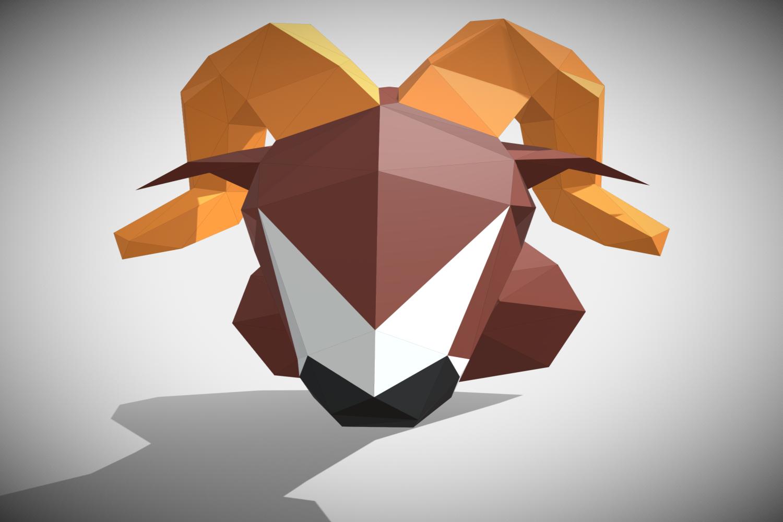 RAM DIY Paper Sculpture Animal head Trophy example image 1