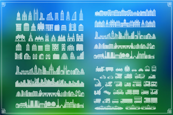 Vector set of city landscape example image 3
