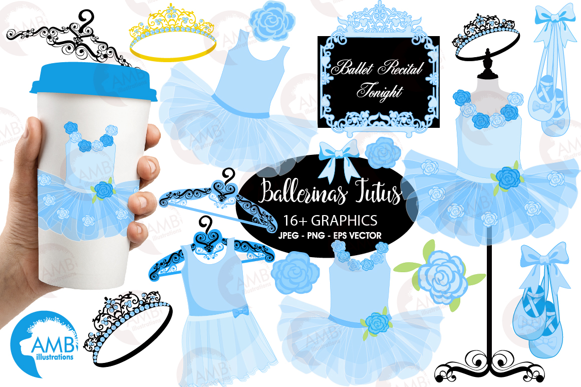 Ballerina Tutus in blue clipart, graphics and illustrations AMB-1319 example image 1