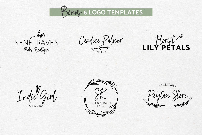 River Jade, signature font script, Logos & bonus clipart example image 3