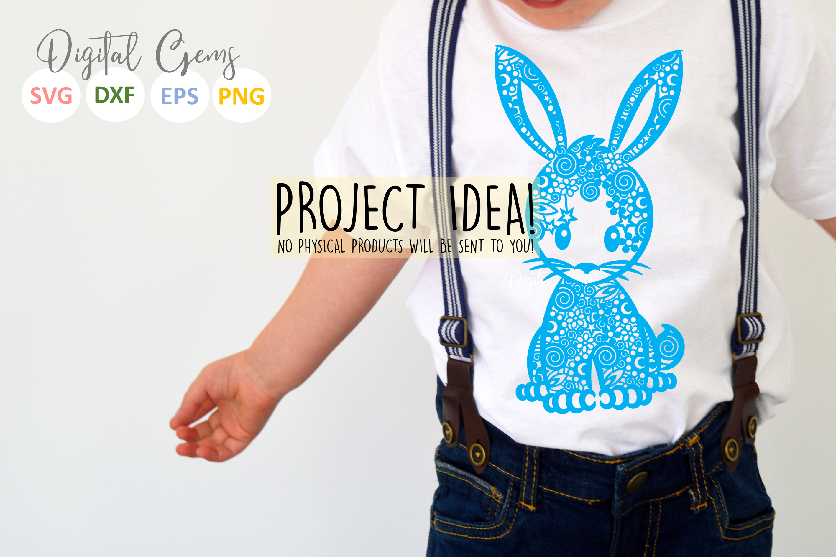 Bunny Rabbit paper cut SVG / DXF / EPS / PNG files example image 2
