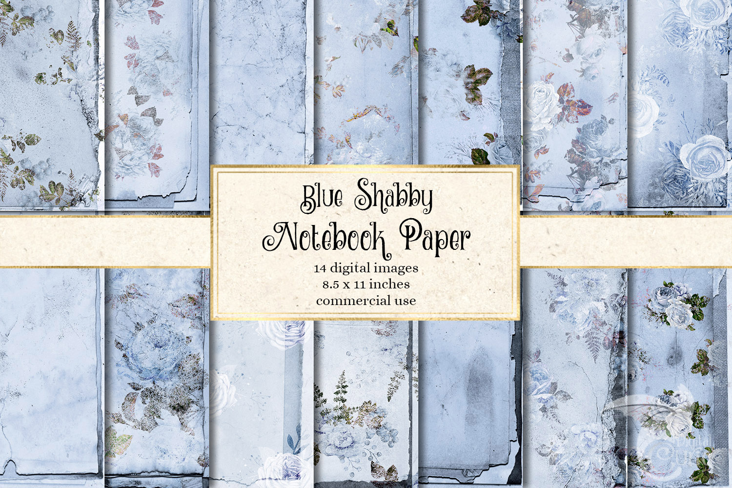 Blue Shabby Notebook Paper example image 1