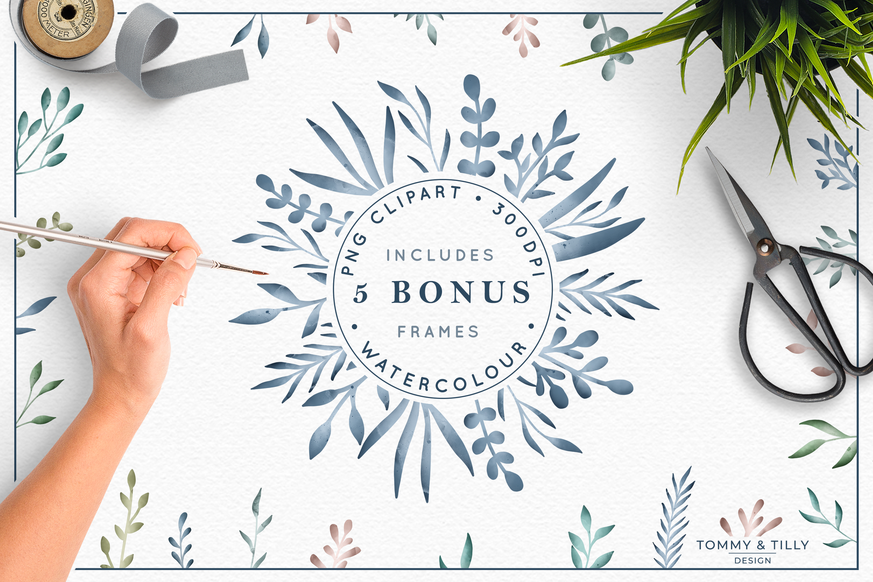 The Foliage Bundle Watercolour - Wedding Flower Clipart PNG example image 2