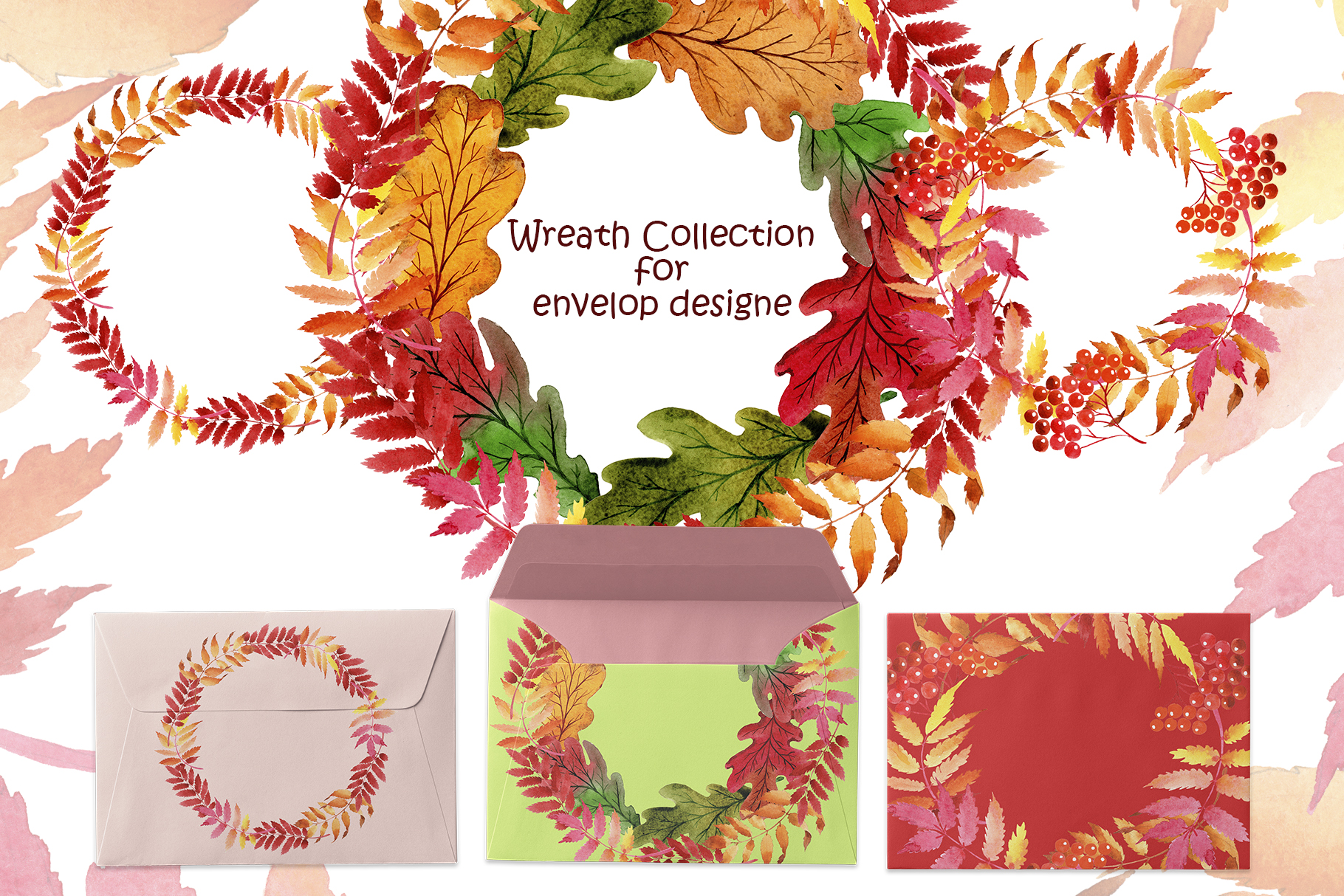 Wreath collection PNG watercolor set  example image 5