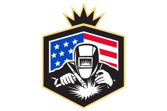 Welder Arc Welding USA Flag Crest Retro example image 1
