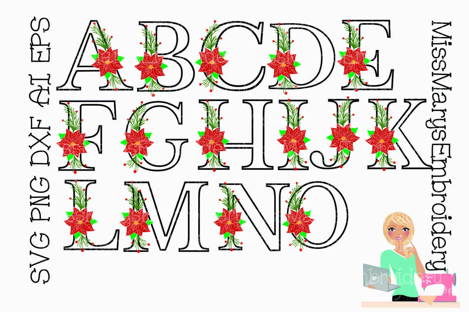 Poinsettia Letters SVG | Poinsettia| Poinsettia Monogram example image 2