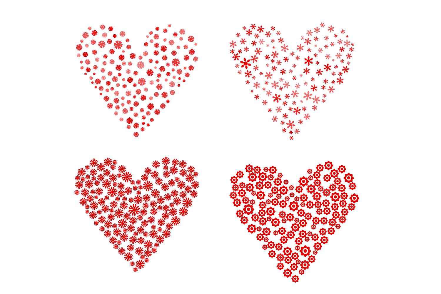 Set of 4 Flower Hearts Shape SVG, Floral Hearts AI, EPS example image 2