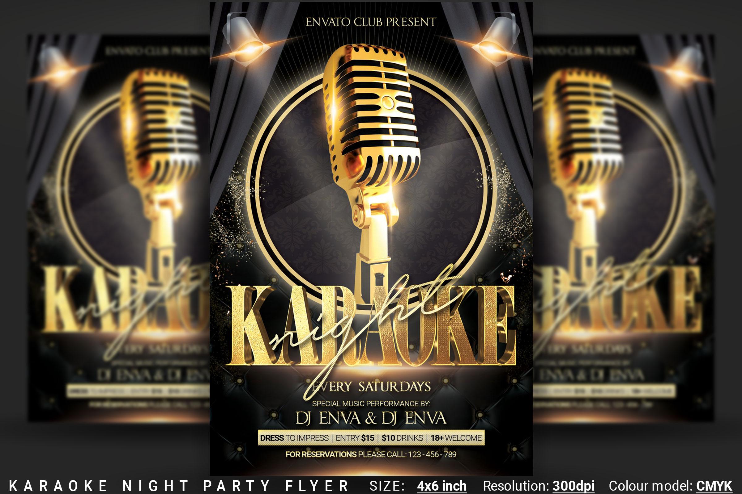 Karaoke Night Party Flyer example image 1