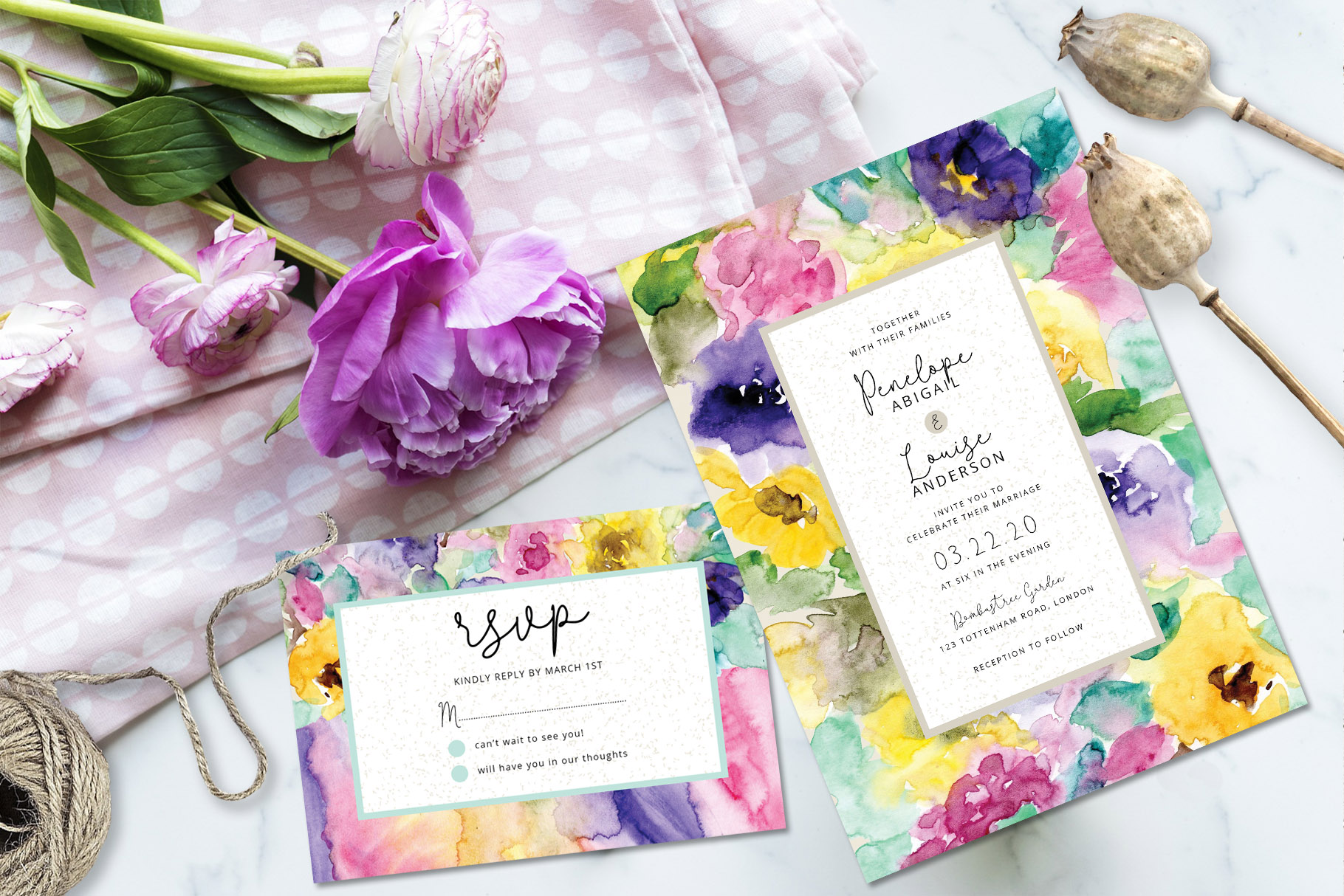 Abstract Floral Wedding Invitation example image 2