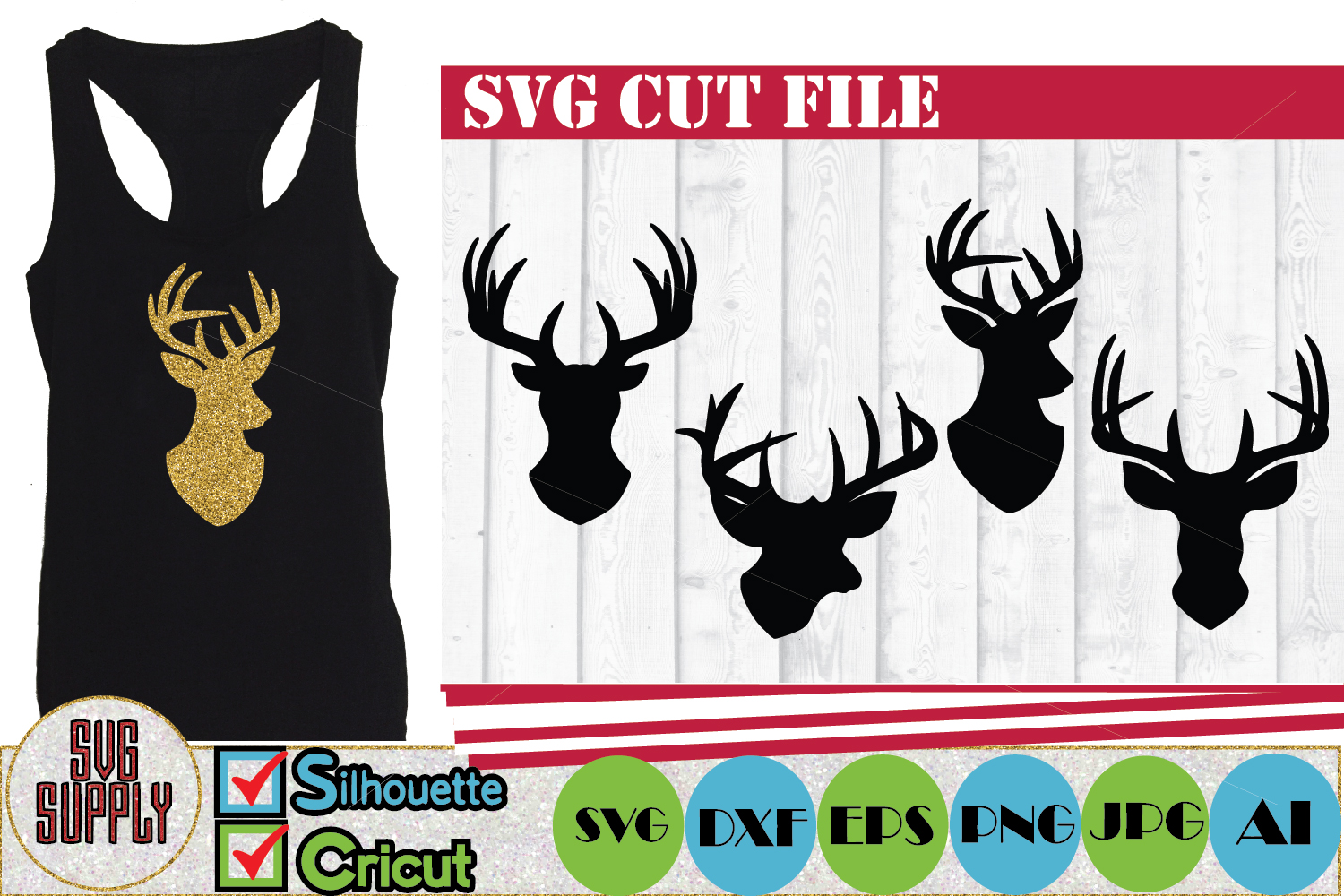 Reindeer SVG Cut files example image 1