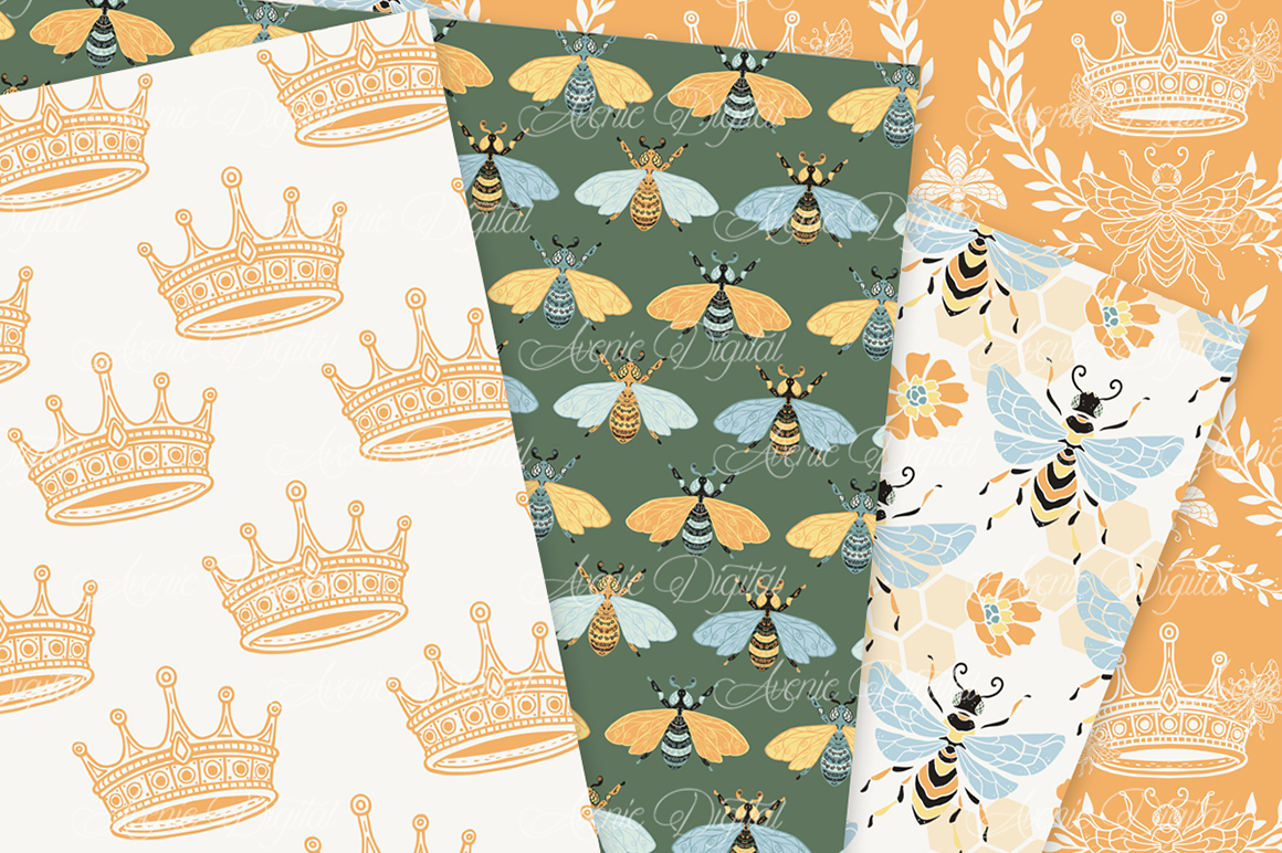 Bee Garden Seamless Vector Patterns and Digital Papers example image 2
