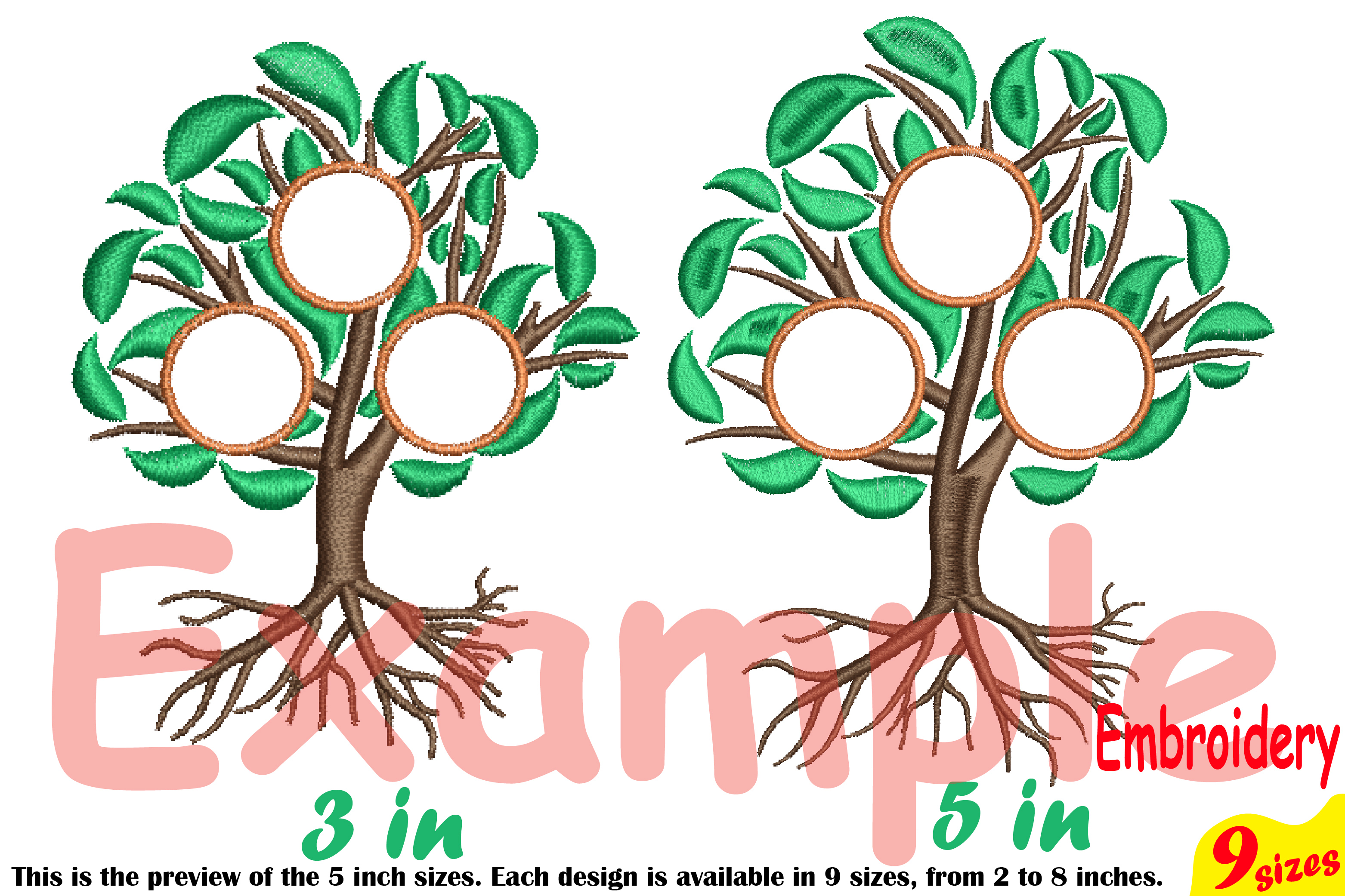 Family Tree Circle Embroidery Design Machine Instant Download Commercial Use digital Outline family love Frame Deep Roots Branches 207b example image 3