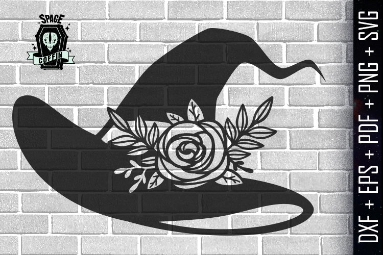 Witch Floral Hat Silhouette Vector DXF/EPS/PDF/PNG/SVG example image 1