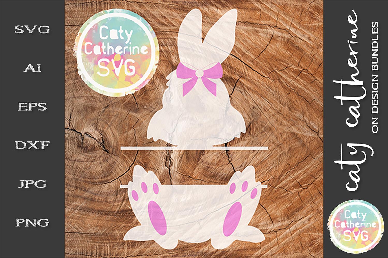 Easter Bunny Split Monogram SVG Cut File Bow Detail example image 1