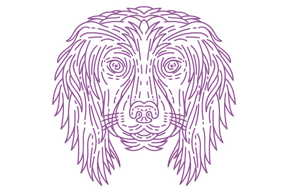English Cocker Spaniel Dog Head Mono Line example image 1