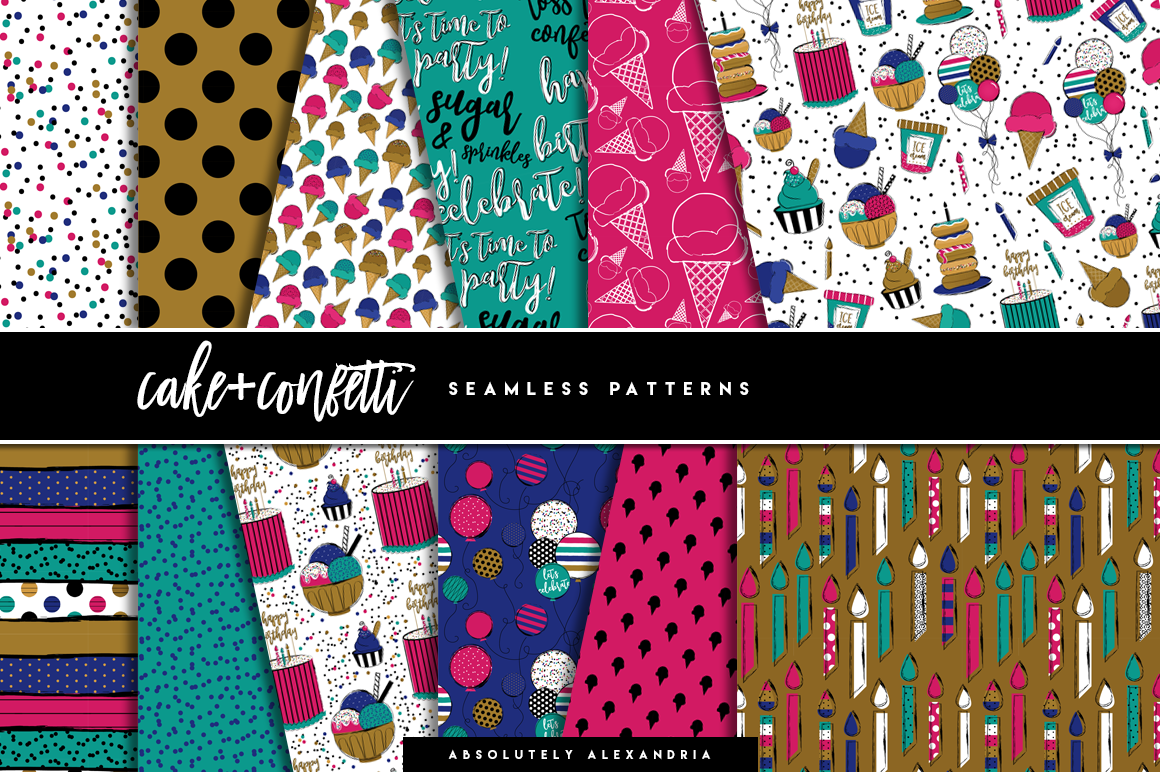Cake + Confetti Clipart Illustrations & Seamless Digital Paper Patterns Bundle example image 2