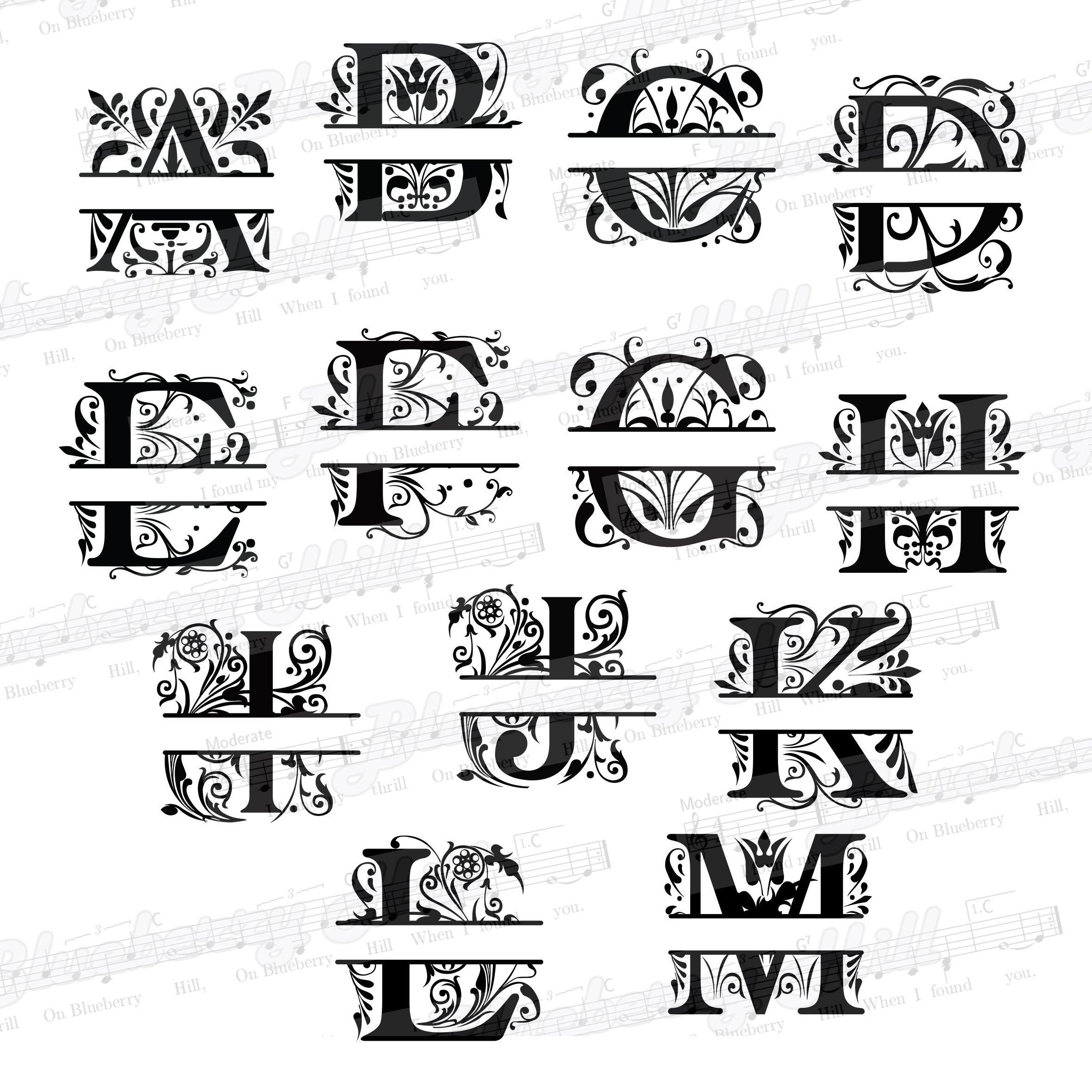 Regal Split Monogram Letters SVG - Regal Letters cut files example image 3