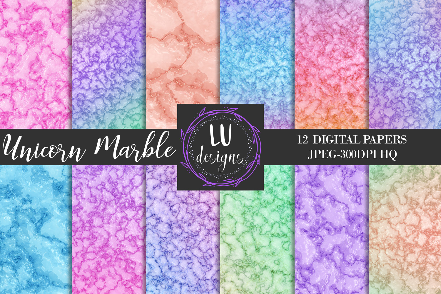 Unicorn Marble Digital Papers, Rainbow Marble Backgrounds example image 1
