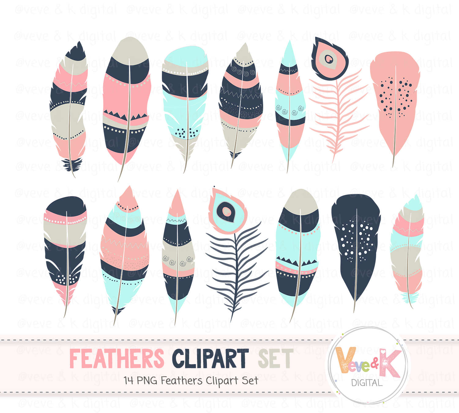 Feathers Clipart, Feathers, Tribal, Digital Feathers, Aztec Feathers, Navy Feathers, Teal Feathers, Tribal Feathers example image 2