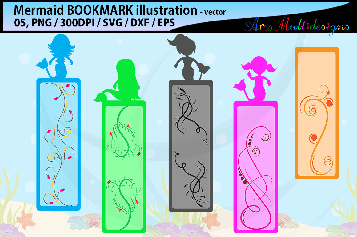 Mermaid bookmark clipart illustration / water girls bookmark / mermaid vector bookmark / mermaid / EPS / PNG / SVG / DXf example image 1