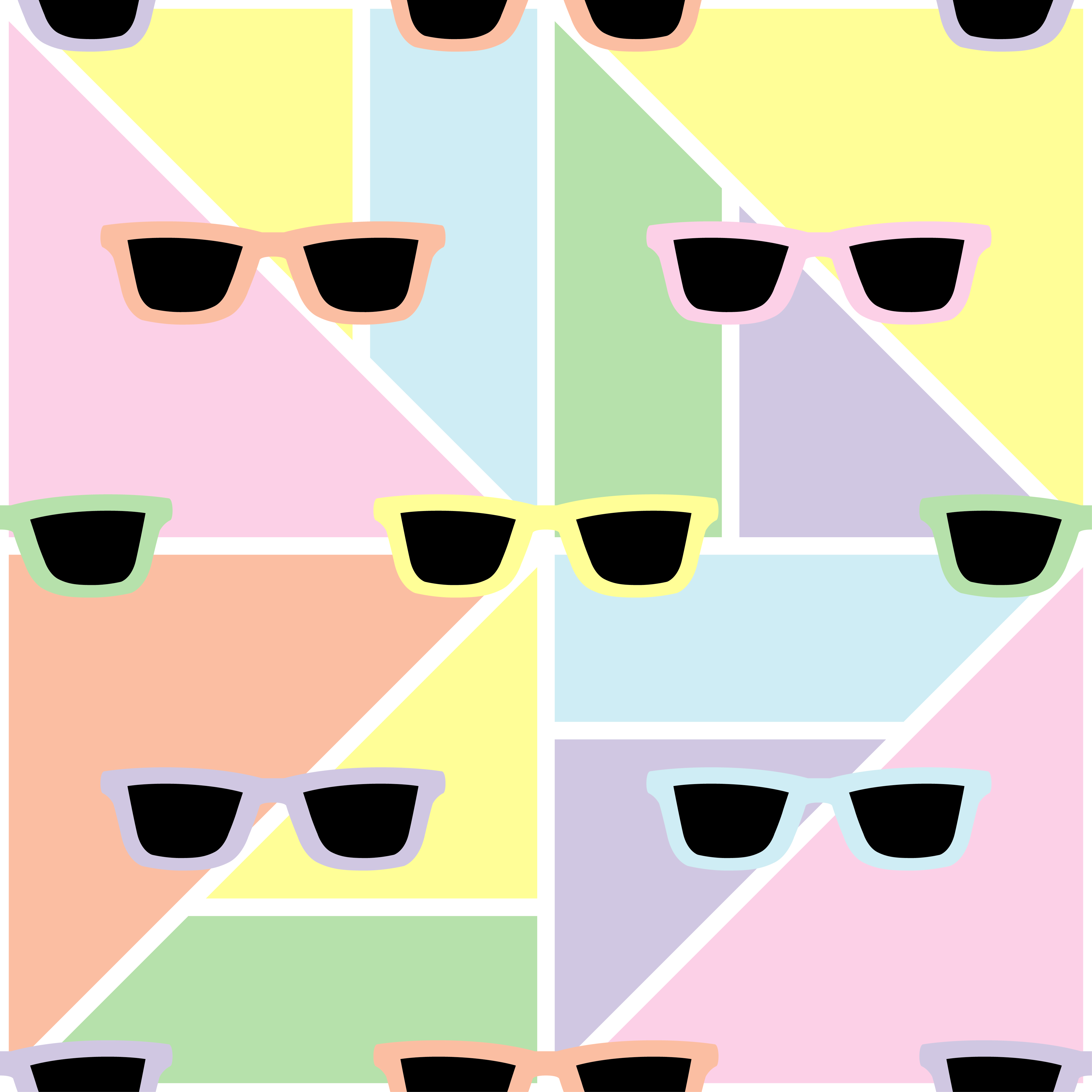 Black glasses on pastel geometric background. Seamless abstract geometric pattern. Textile rapport. example image 1
