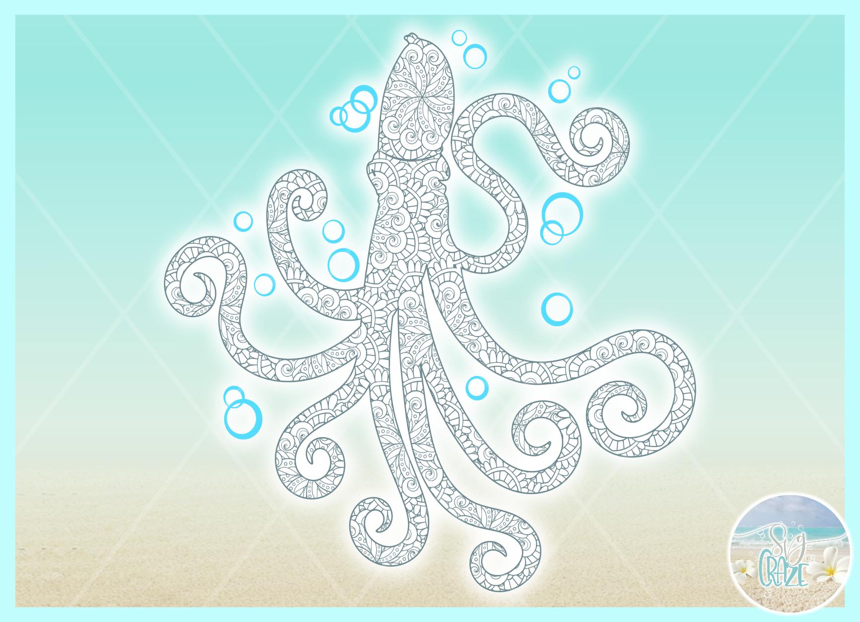 Octopus Mandala Zentangle Svg Dxf Eps Png Pdf Files example image 2