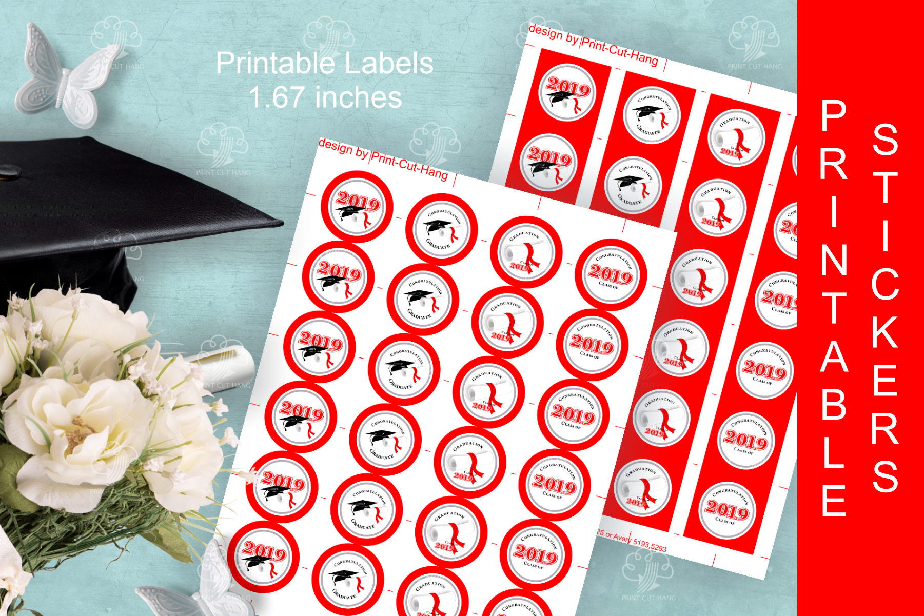 Red Printable Stickers Graduation 2019 - size 1.67 inches example image 3