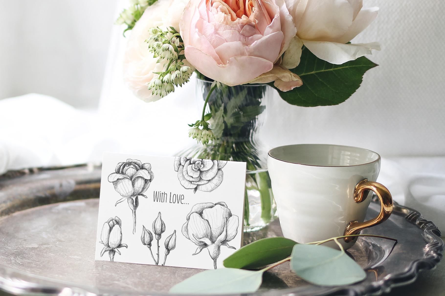 Sketched roses, patterns, frames example image 11