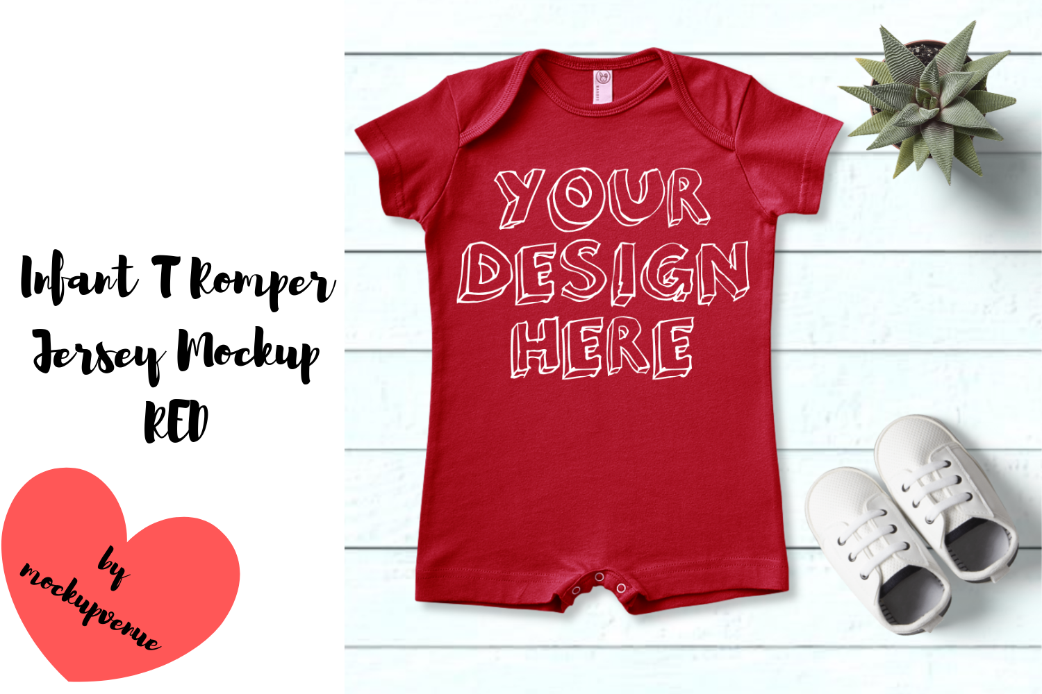 Infant T Romper Jersey Mockup - RED example image 1