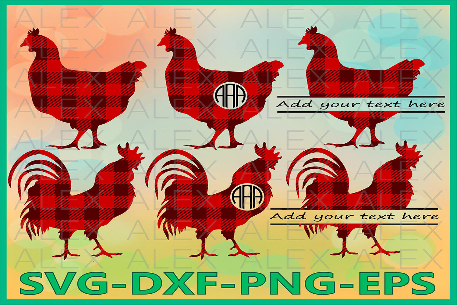 Cock Rooster Svg, Buffalo Plaid SVG, Chicken Monogram svg example image 1
