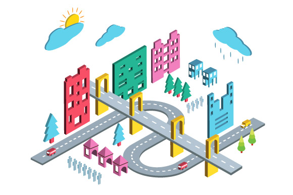 Color isometric city example image 2