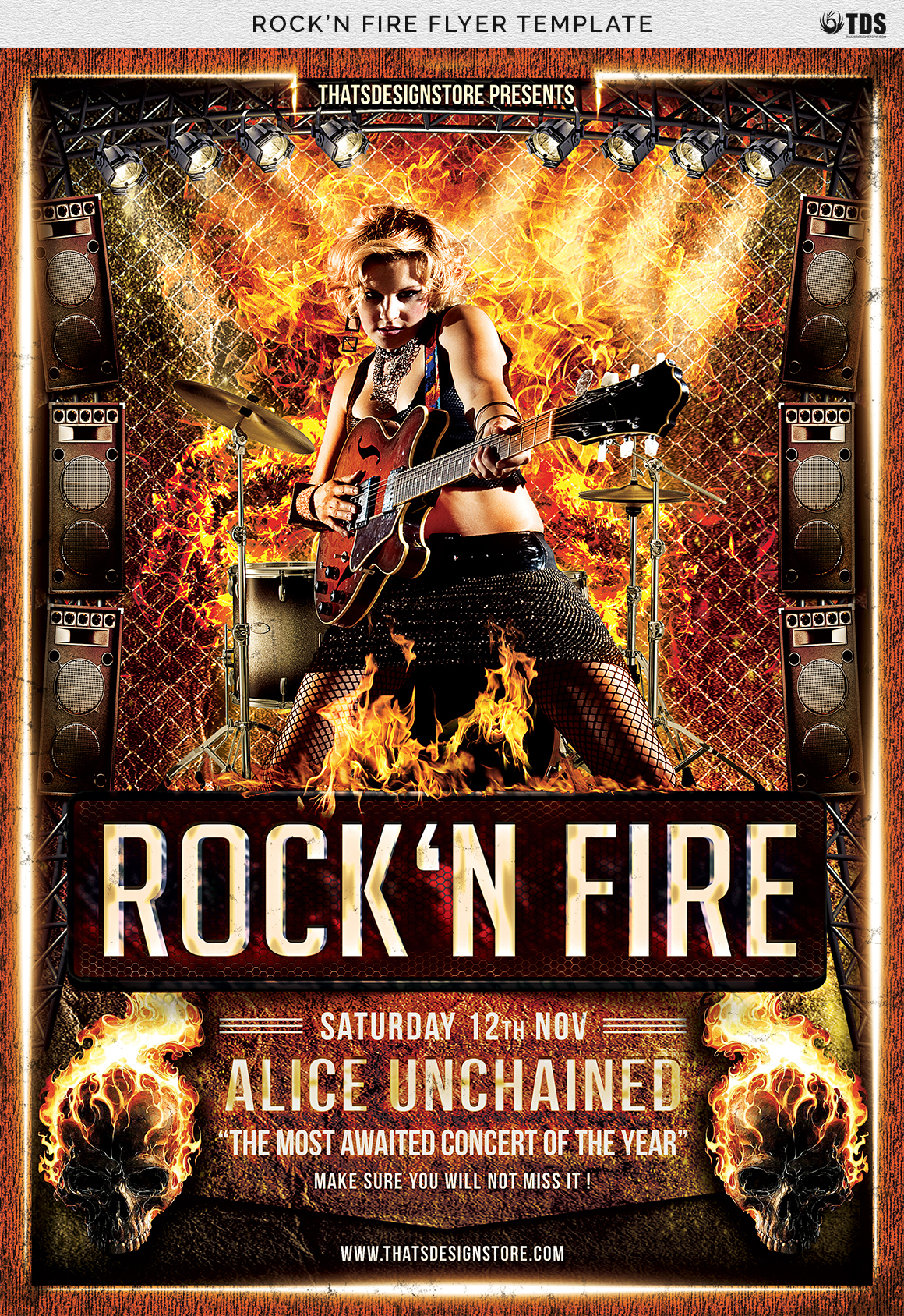 Rock'N Fire Live Flyer Template example image 7