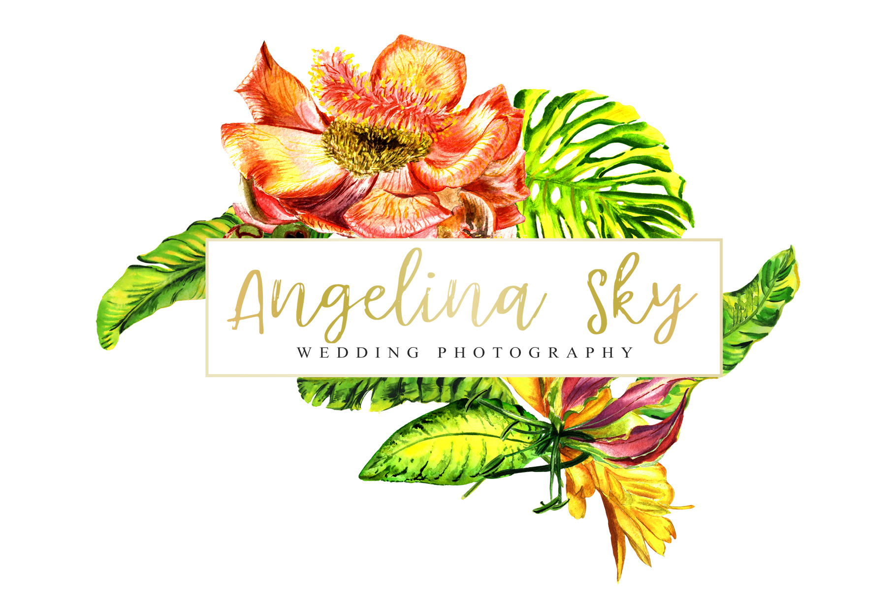 LOGO with tropical flowers Watercolor png example image 4