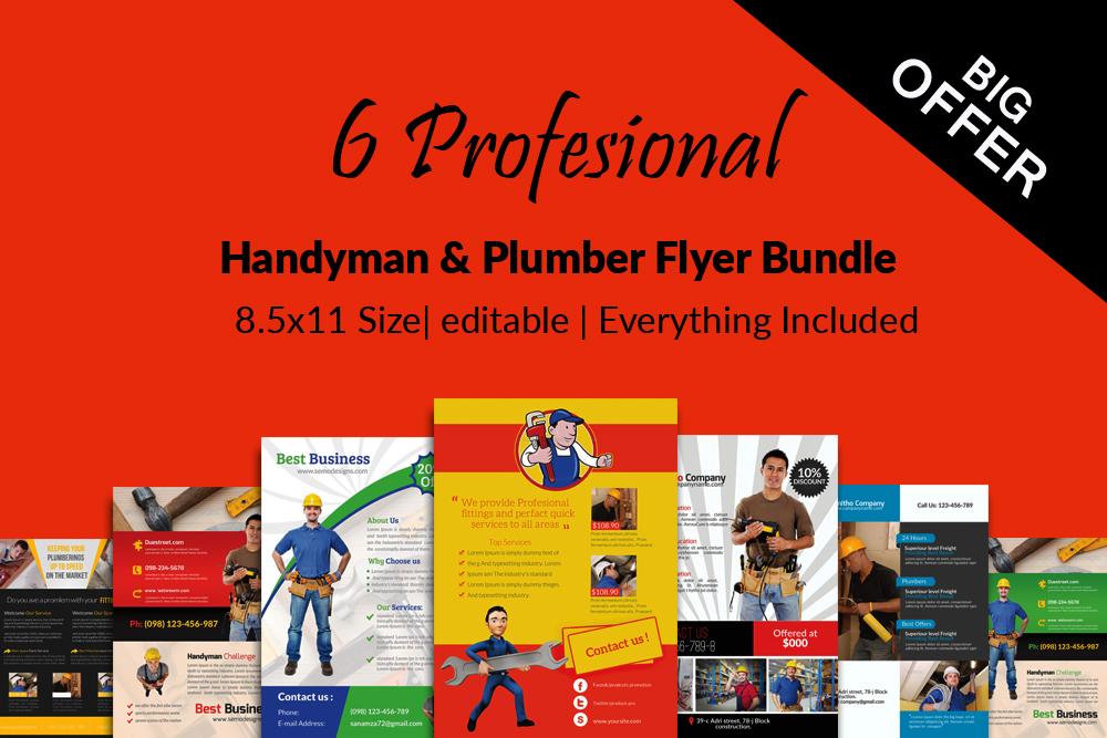 6 Handyman & Plumber Flyers Bundle example image 1