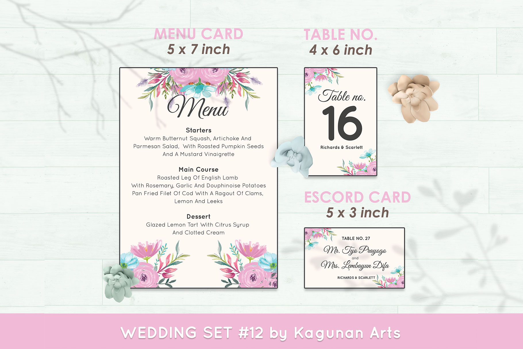 Wedding Invitation Set #12 Watercolor Floral Flower Style example image 6
