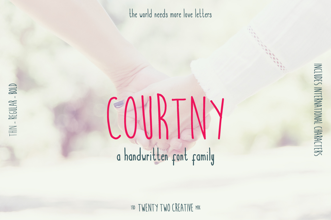 Courtny - a note-taking handwritten font example image 1