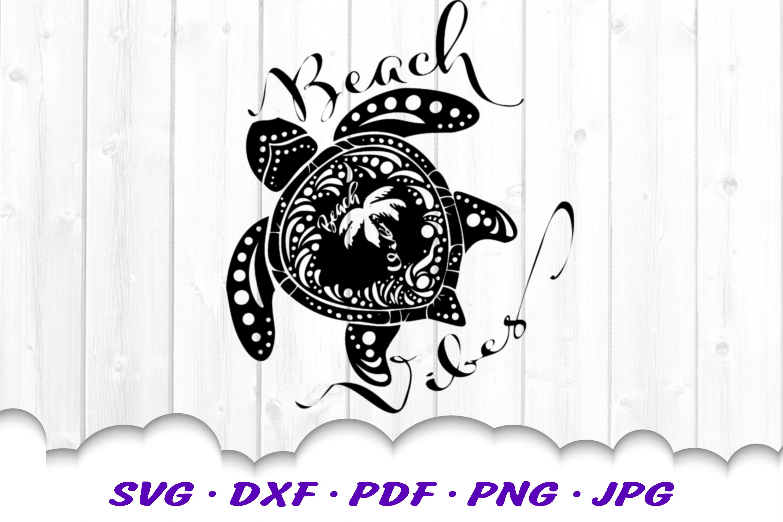 Beach Vibes Mandala Turtle SVG DXF Cut Files example image 2