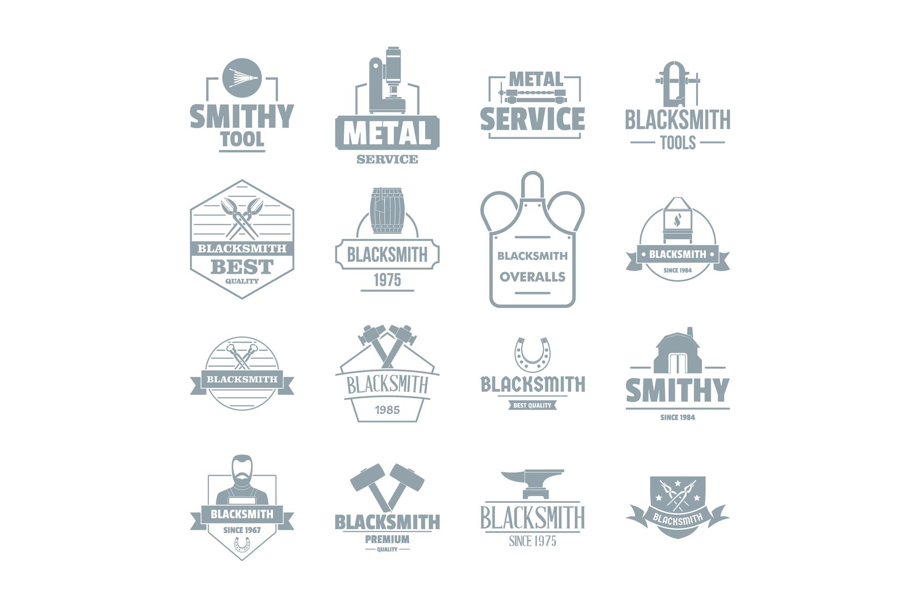 Blacksmith metal logo icons set, simple style example image 1