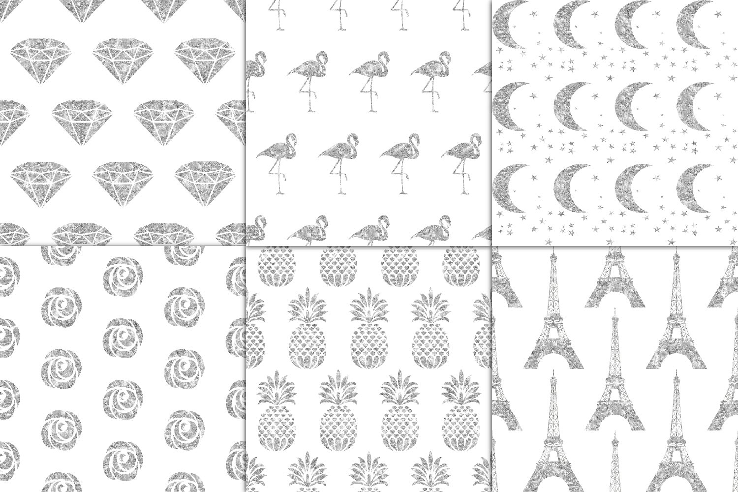 Silver Glitter Seamless Pattern Overlay Clipart example image 2