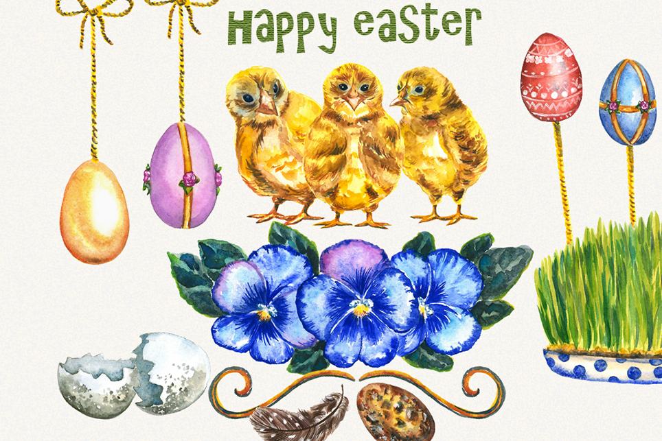 Easter Clipart, watercolor easter clipart, easter egg example image 2